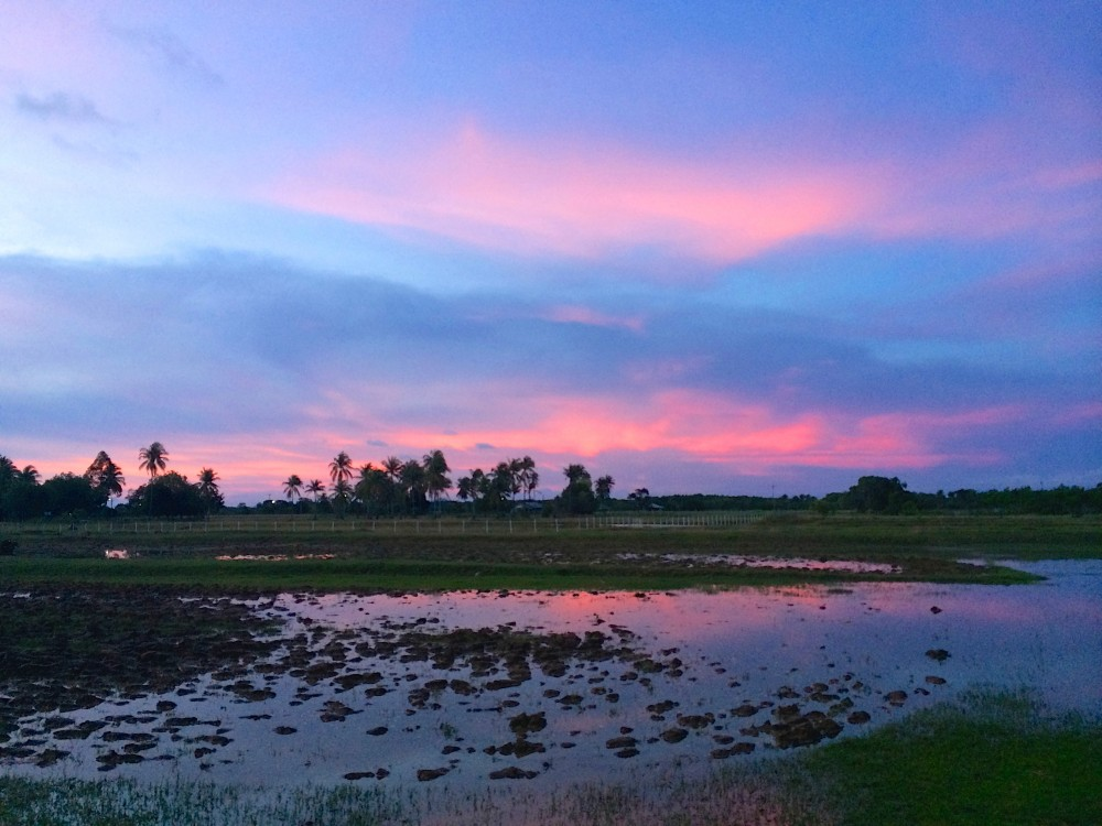 初日に見た夕日」・・・夕方、水を汲みに行ったら迷子に。偶然見た夕日があまりにキレイで、不安を少し吹っ飛ばしてくれた。