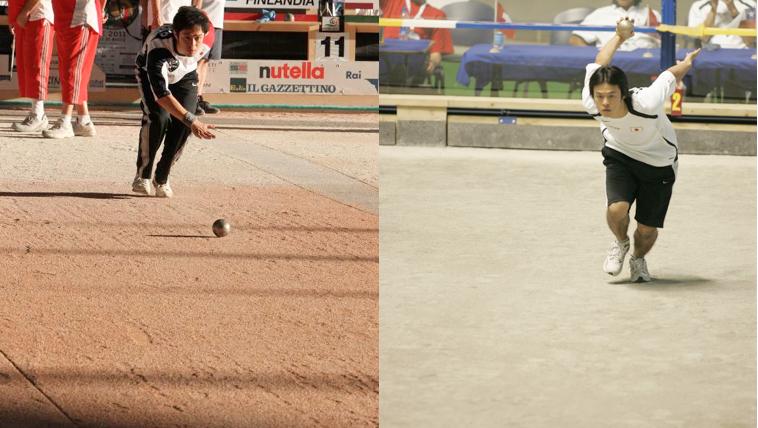 ボールを転がすポワンテ(左)と助走をつけてボールを投げるティール(右)