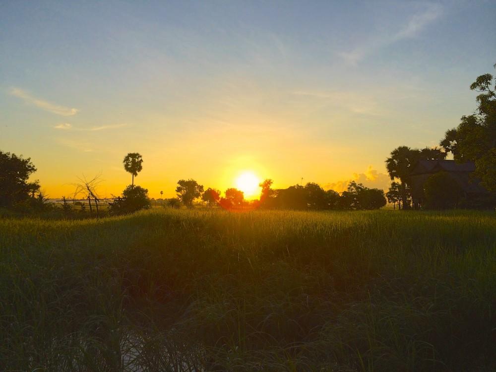 朝日。いつもより早起きして、みんなで自転車こいで朝日を観に行った。草原の向こうから太陽が見えたときには、あまりの美しさに歓声が起こった。