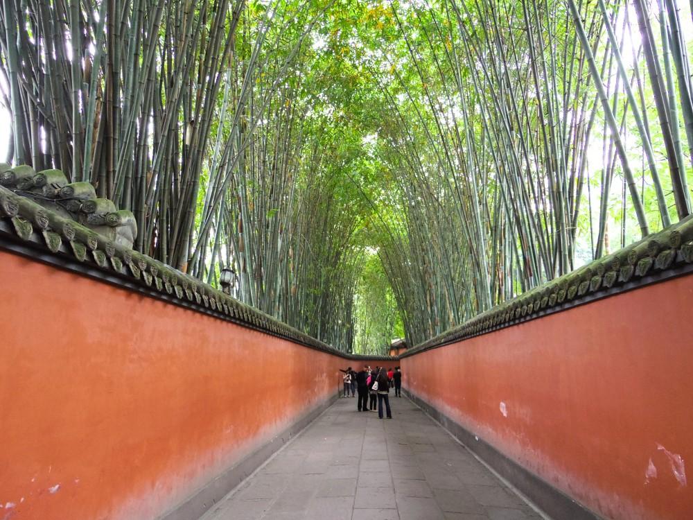 武候祠の中の歩道。とても静かで落ち着いた雰囲気。思わず京都の嵯峨野の竹林を思い出した