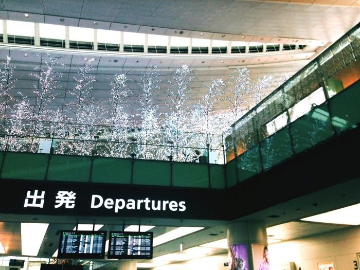 出発日の朝の空港で。ああ、これから始まる。いろんな意味での「DEPARTURE」