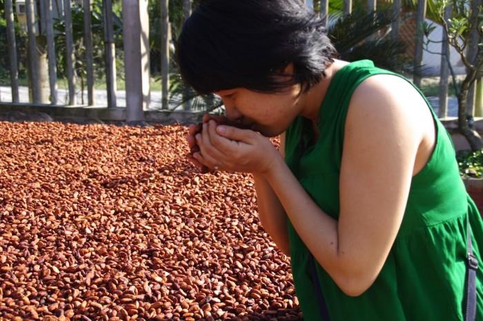 カカオ豆は発酵を終えると乾燥へ。香りと音で状態が分かるのだそう