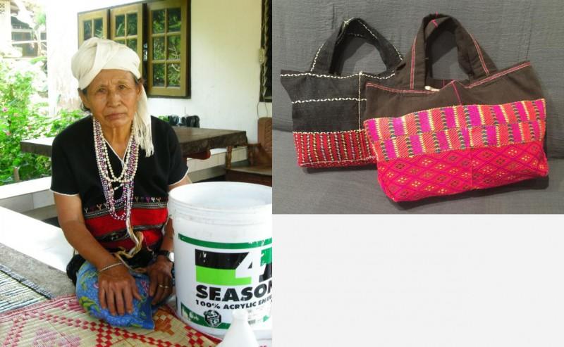 (左)カレン族の生産者のお母さんが着ているのが、民族衣装のポンチョです。(右)古着のポンチョをベースに、トートバッグにリメイク。