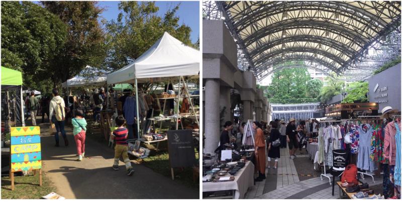 川崎市にある緑豊かな公園で開催される『ベジ&フォーク』と、都会の真ん中、六本木のアークヒルズで開催される『赤坂蚤の市』では、訪れる人のタイプも求めるものも異なります。どう作戦を立てるかがイメージのポイントです。