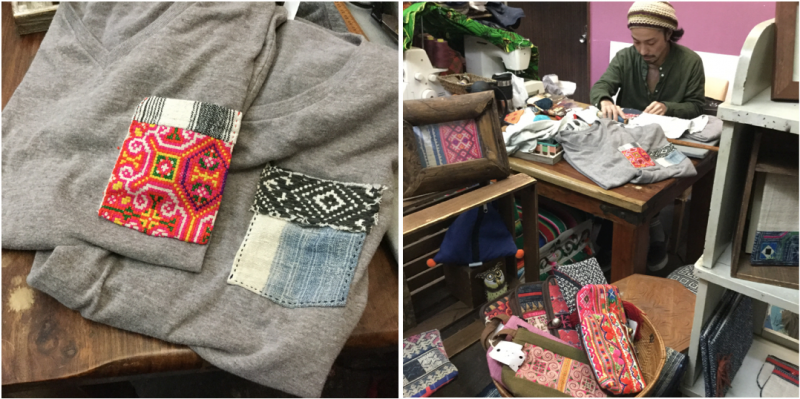 チクチクとポケットを縫いつけ、Tシャツのリメイクが進行中。使う物をぜんぶテーブルの上に広げて作業するのは相変わらず(笑)。可愛いものができあがっていく様子はいつ見ても楽しいものです。
