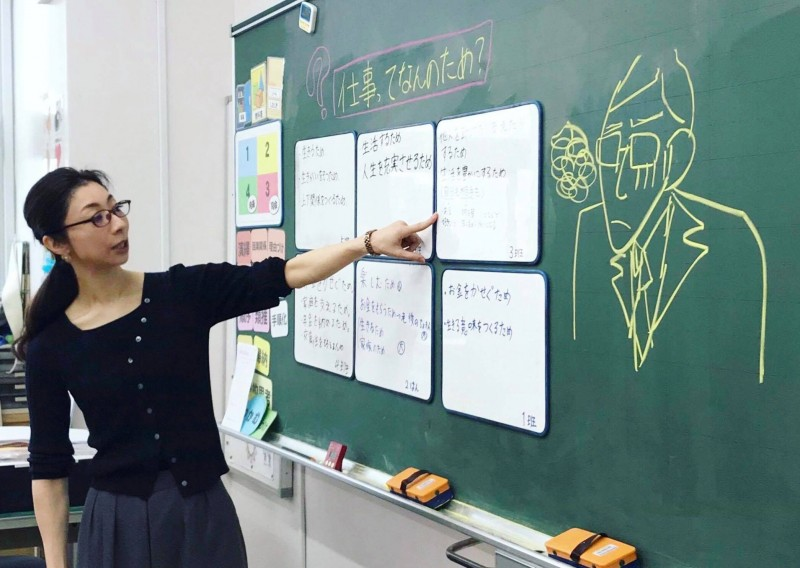 小学校のキャリア教育の授業での様子